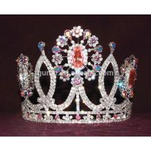 Красочные горный хрусталь цветок тиары пользовательских кристалл короны