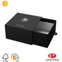 Black drawer cardboard box with PU puller