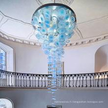 Lustre en cristal de cercle d'escalier personnalisé créatif classique