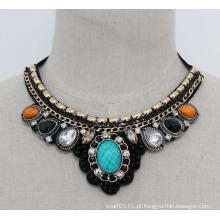 Moda nova acrílico zircão bijuterias colar gargantilha (je0095)