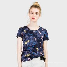 T-shirt recadrée d'impression numérique personnalisée femmes, T-shirt