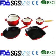 Enamel Cast Iron Cookware Set with Skillet Grill Casserole Saucepan
