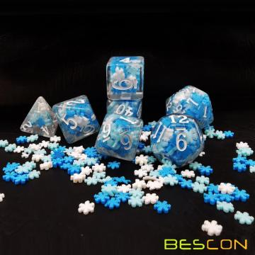 Bescon Snowflake Polyhedral Dice Set, Snowflake Poly RPG Dice set of 7