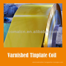 golden varnish and white coated tinplate coil for metal can lid usage