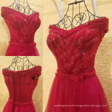 Charming Red Vestido De Festa Longo Graceful Evening Dress Off The Shoulder Beaded Sequin Tulle Bow Sash Sexy Party Gown ML210