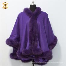 Adultos Caps y Ponchos de invierno de cachemira para mujeres con Fox Fur Trim
