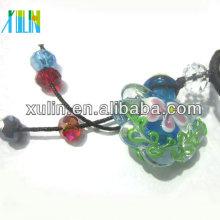 pendente de vidro da garrafa de perfume da flor do estilo do murano com o tampão de madeira