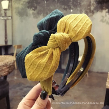 Wholesale Custom New Design Fashion Cute Rabbit Ears Knitted Pure Color Wool Simple Headband Hair Accessories for Women