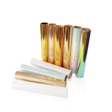 Holographic HTV Rolls Metallic Film Stretchable Hologram PET Foil Heat Transfer Vinyl Bundle for Textil