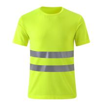 Camiseta de seguridad barata transpirable con dos tiras reflectantes