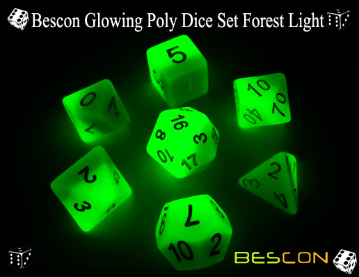 Bescon Glowing Poly Dice Set Forest Light-4