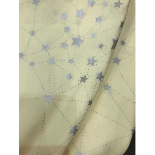 Polyester Pearl Printed Silver Color Fabric