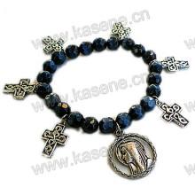 Black Crystal Beads with Metal Cross