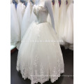 Designer Lace Wedding Ball Gown Sweetheart Neckline Latest Fashion Dresses Heavy Beading Bow Back Bridal Dresses A102