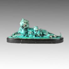 Tier Bronze Skulptur Tiger Familie Deko Messing Statue Tpal-260