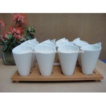 2015 nova porcelana caneca cerâmica branca com base de bambu