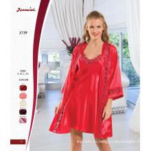 Satén rojo encaje camisón y traje conjunto de dos piezas