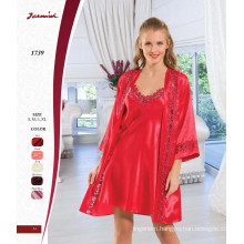 Satin Red Lace Nightdress and Robe Two Piece Set