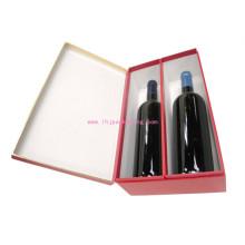 Luxo garrafa de duas garrafas de vinho embalagem caixa de papel com estampagem de folha
