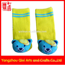 2015 new designs cotton baby socks with bear toys head manufacturer