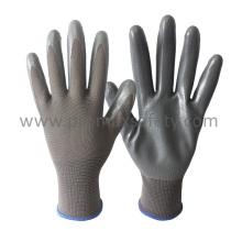 Gants tricotés en polypropylène 3G avec doublure en nitrile lisse et gris