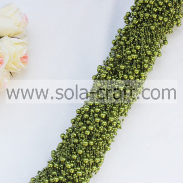 Light Green Grass Color Wire Pearl Beaded Garland With 3+8MM Beads