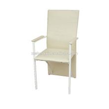 Fauteuil à dossier blanc, chaise à manger en métal en PVC pour hôtel