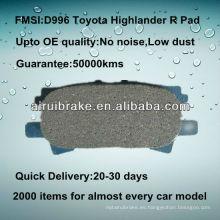 Almohadilla de freno de cerámica de alto rendimiento D996 para Toyota Highlander