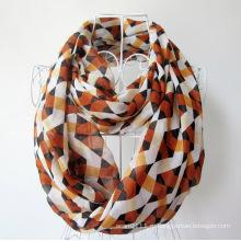 Женщина мода проверено печатных полиэстер шифон бесконечность шарф (YKY1101)