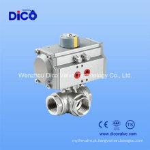 Válvula de esfera pneumática rosqueada de três maneiras para o tratamento da água