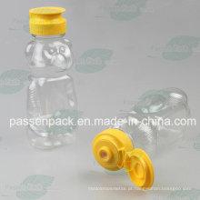 350g urso forma plástico garrafa de mel com tampão de válvula de silicone (PPC-PHB-18)