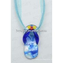 Colgante de cristal de Lampwork de la alta calidad Collar del vidrio de Lampwork colgante del frasco de cristal con la cuerda de cera