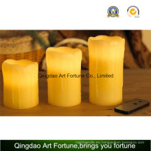Flameless Colorido LED Candle-Dripping Finish y función de control remoto
