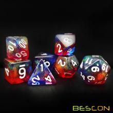 Bescon New Moonstone Dice Valor Stone, Polyhedral Dice Set of 7