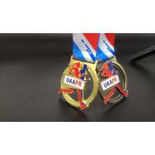 Antique gold 3D zinc alloy custom sports award marathon running China medals and trophies
