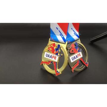 Antique or 3D en alliage de zinc personnalisé sport marathon en cours d'exécution des médailles et des trophées de la Chine