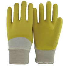 NMSAFETY 3/4 coated yellow cotton rubber gloves / glove latex rubber FREE SAMPLE