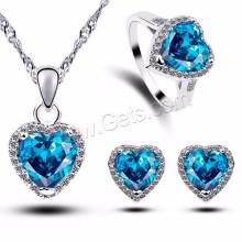 Сингапур Chain Heart Shape Micro Pave Кубический цирконий Sea Blue Brass Jewelry Set