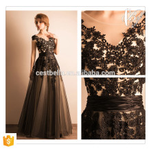 Vestido Maxi Sexy Sexy Black Lace Design Preto Vestido de Noite Elegant Evening Dress