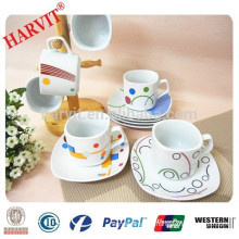 Modern Square Coffee Cups And Saucers, Porcelain Coffee Tea sets