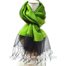 Newest lady's fashion cheap wholesale light weight double layers yarn dyed blended wool silk scarf