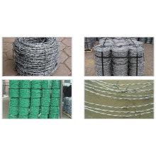 Clôture en fil de fer barbelé en PVC vert