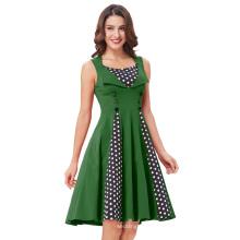Belle Poque Women's Polka Dot Retro Vintage Style Green Cocktail Party Swing Dress BP000282-3