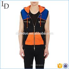 Colorblocked Cotton hombres cremallera sin mangas con capucha llano personalizado para la venta