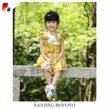 high quality hand embroidery yellow dress
