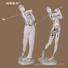 poly resin high quality art deco golf playing man and woman