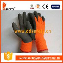 Fluorescence Acrylic Coating Grey Latex Gloves, Crinkle Finished Dkl441