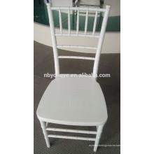 Apilamiento de acero PP Blanco resina metal chiavari silla al por mayor con cojín