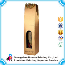 Hot Sale Custom Gloden Card Paper Wine Packaging Box with Cotton Rope