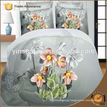 grey back ground flower printed bedding set,3D polyester bedding set